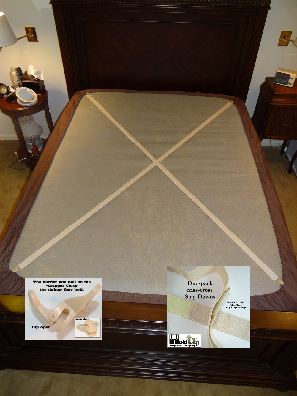 High Quality Bed Straps Or Fitted Sheet Suspendewrs Designed To Simply Crisscross Corner  To Corner Any Size Mattress